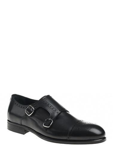 D by Divarese Çift Tokalı Klasik Deri Ayakkabı Siyah